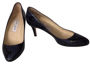 Jimmy Choo Snakeskin Leather Low Heel Blue And Black Pumps