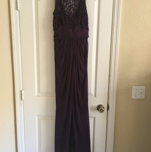 David's Bridal Purple Purple, Lace Top Bridesmaid Gown Dress