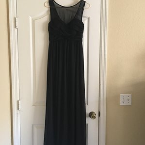 David's Bridal Black Black Mesh Top Bridesmaid Dress Dress