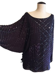 Alice + Olivia Disco Sequin 70s 80s Dolman Sleeve Top plum