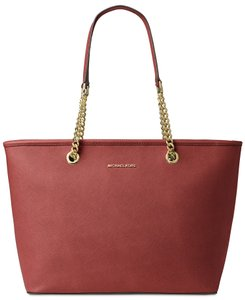 Michael Kors Travel Leather Tote in Brick