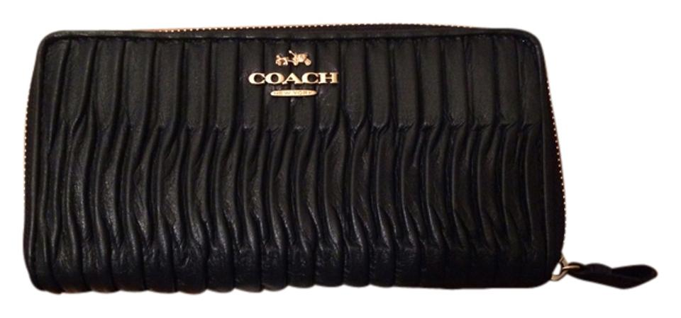 size 40 68ab2 8d853 Coach Navy Blue Twist Gathered Leather Accordion Zip Black Wallet 42% off  retail