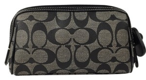 Coach Coach Black Gray Coated Canvas Small Cosmetic Bag