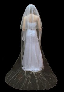 Cathedral Length Two Layer Wedding Veil With Rhinestones
