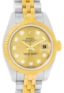 Rolex Rolex Datejust Steel 18K Yellow Gold Diamond Dial Watch 179173