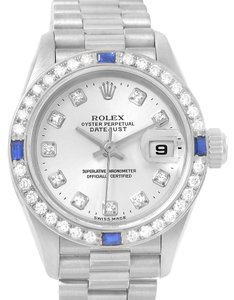 Rolex Rolex President Datejust 18k White Gold Diamond Sapphire Watch 79179