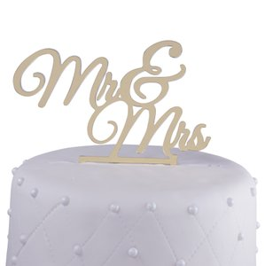 Unik Occasions Mr. & Mrs. Elegant Acrylic Cake Topper Gold Mirror