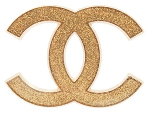 Chanel #9797 large CC glitter gold hardware brooch pin charm