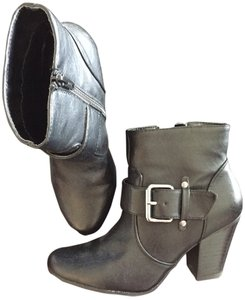 Nine West Bootie Buckle Leather Black Boots