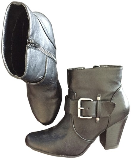 Nine West Leather Low Heel Ankle Black Boots