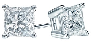 DIANA M. JEWELS 1.20 Carats White Gold & Diamond 4 Prong Stud Earrings, Certified