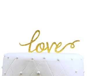 Unik Occasions Love Acrylic Wedding Cake Topper Gold Glitter