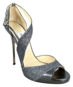 Jimmy Choo Stiletto Holiday Anthracite Glitter Sandals