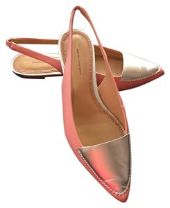 Anthropologie Leather Pink & Silver Flats