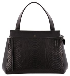 Céline Celine Python Leather Satchel in Black