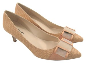 Jon Josef Raffia Straw Woven Beige Natural Designer New Spain Wicker Leather Bow 8 tan Pumps