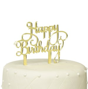 Unik Occasions Happy Birthday Acrylic Cake Topper - Gold Mirror
