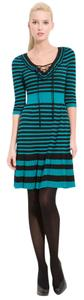 Nanette Lepore short dress Teal, Black Striped Ruffle on Tradesy
