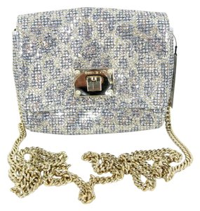 Jimmy Choo Glitter Leopard Leather Chain Cross Body Bag