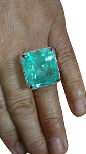 JUMBO* 30.72CT NATURAL COLOMBIAN EMERALD AND DIAMOND 14K GOLD RING