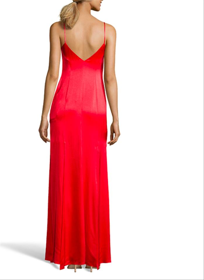 Wyatt Red Wash High Slit Evening Gown Long Formal Dress Size 10 (M ...