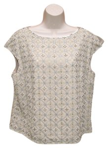 Talbots Silk Evening Top Beige