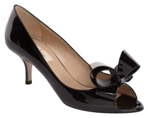 Valentino Couture Patent Bows Stiletto Black Pumps