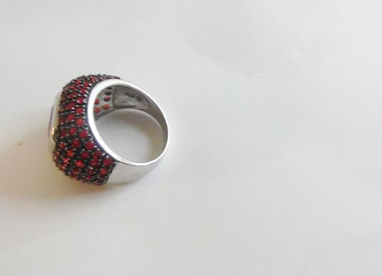 Real Collectibles by Adrienne Real Collectibles .925 Sterling Silver Ruby Pave Dome Ring Size 8