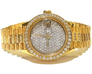 Rolex Ladies Datejust President 18 karat Gold With Diamond Dial Bezel & Band