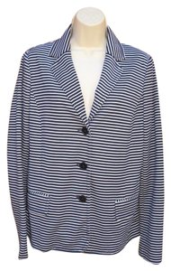 Talbots Striped Ponte Blue Whtie Blazer