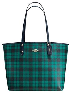 Coach Reversible Canvas Black Tote in Green & Navy