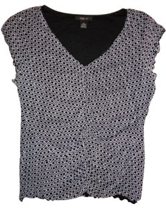 Style & Co Sparkle Stretch Cap Sleeves Top Black, White