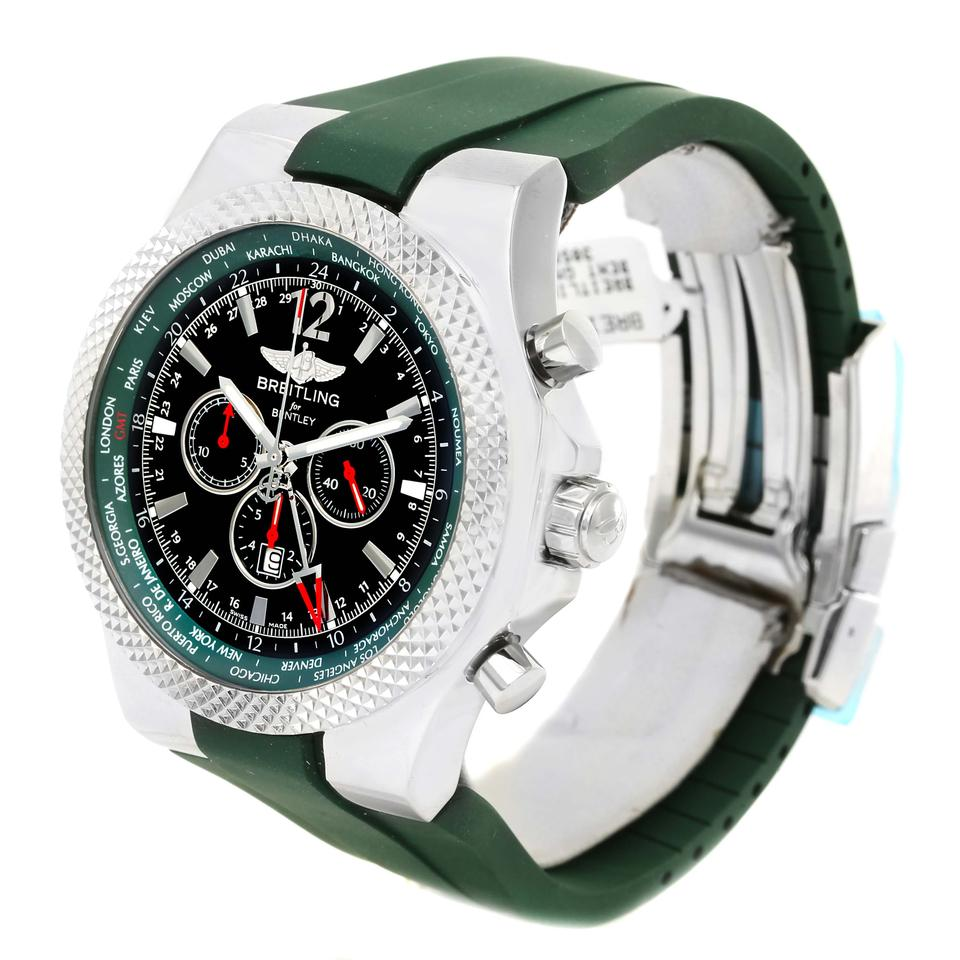 Breitling Green Bentley Gmt Rubber Strap Le A4736254/B919
