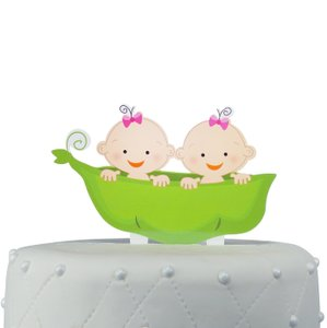 Unik Occasions Two Peas In A Pod Twins Acrylic Cake Topper - Girls