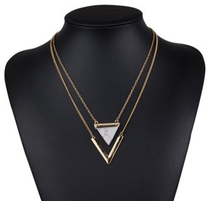 Triangle Double Layer White Marble Stone Bar Necklace