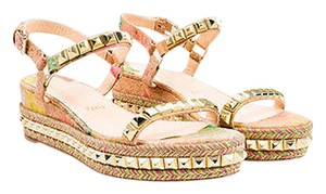 Christian Louboutin Splatter Studded Wedge Espadrille Multi-Color Sandals