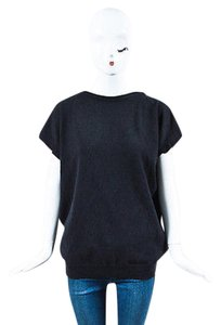 Brunello Cucinelli Charcoal Cashmere Beaded Back Sleeveless Sweater