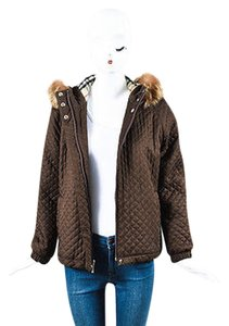 Burberry London Nylon Raccoon Fur Trim Quilted Hooded Brown Jacket