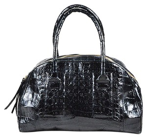 Nancy Gonzalez Crocodile Leather Double Handle Structured Satchel in Black