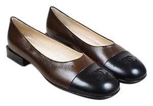 Chanel Brown Leather Cc Black Flats