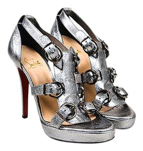 Christian Louboutin Metallic Leather Lima 120 Heeled Silver Sandals