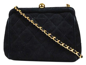 Chanel Vintage Gold Tone Suede Quilted Chain Strap Mini Evening Shoulder Bag