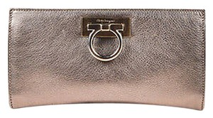 Salvatore Ferragamo Metallic Grained Leather Gancini Chain Handle Silver Clutch