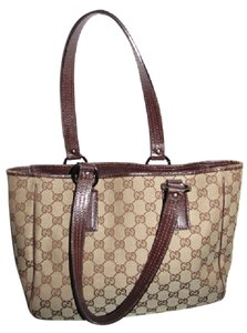 Gucci Tote in brown large G logo print canvas and brown leather