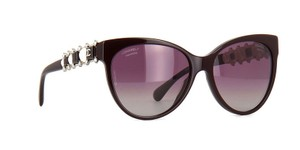 Chanel NEW Chanel Bijou Pearl Cat Eye Burgundy Polarized White Sunglasses