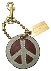 Coach XL Leather PEACE SIGN Keychain Fob ***EXCELLENT***