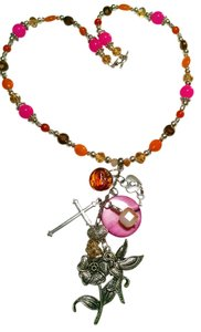 Charm Necklace Pink Orange Summer Bird Gemstone J708