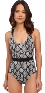 Michael Kors Michael Kors maillot cross back black gray white swimsuit