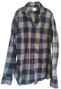 J.Crew Flannel Button Down Shirt Blue/Grey Flannel