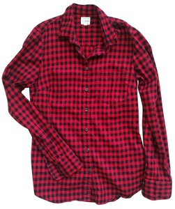 J.Crew Buffalo Check Button Down Shirt Red